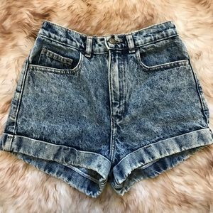 American Apparel Acid Wash High Waisted Shorts 25